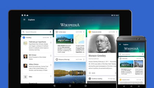 Riznica znanja je renovirana! Wikipedia za Android je dobila nov izgled i par funkcija…