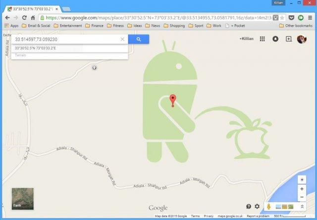Šokantno! Android robotić urinira na Apple logo u Google mapama!